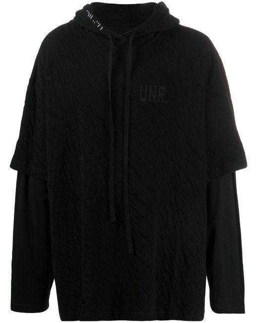 メンズ Unravel Project レイヤード パーカー Black