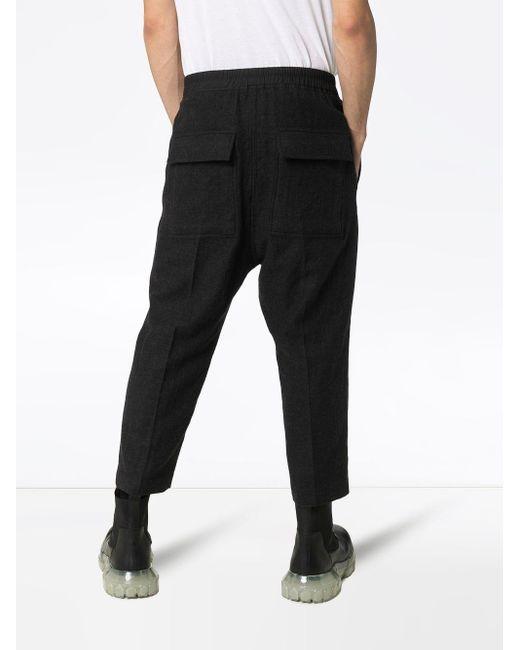 Pantaloni con cavallo basso di Rick Owens in Black da Uomo