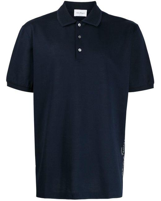 メンズ Ferragamo ロゴ ポロシャツ Blue