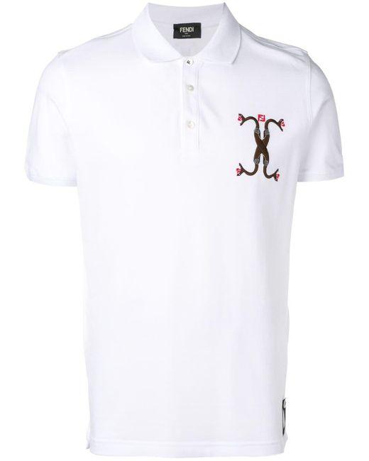 メンズ Fendi スネーク ポロシャツ White