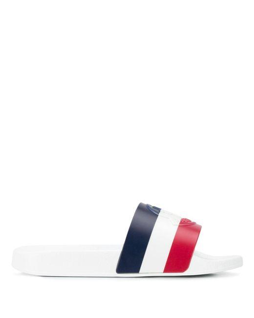 Шлепанцы 'basile' С Трехцветными Полосками Moncler для него, цвет: White