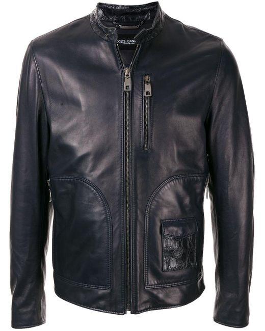 メンズ Dolce & Gabbana スタッズカラーライダースジャケット Black