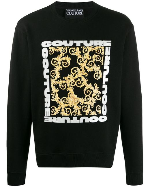メンズ Versace Jeans バロックプリント スウェットシャツ Black