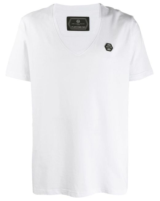 メンズ Philipp Plein Original Vネックtシャツ White