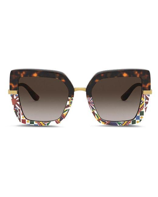 Dolce & Gabbana スクエアフレーム サングラス Brown
