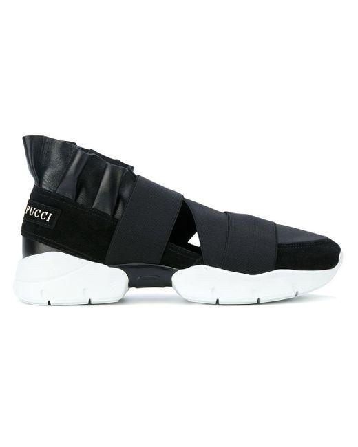Emilio Pucci Black Strap Slip-on Sneakers