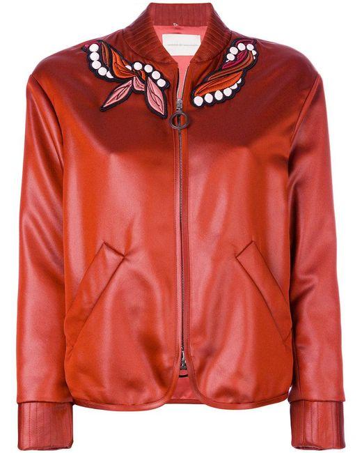 Marco De Vincenzo - Orange Embroidered Patch Bomber Jacket - Lyst