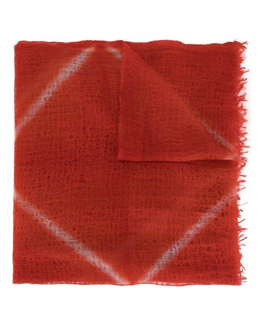 Suzusan カシミア プリント スカーフ Red