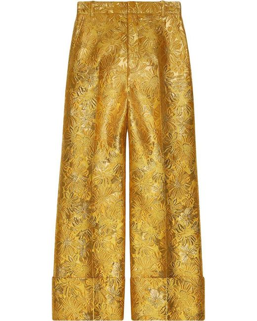 Gucci - Yellow Floral Brocade Trousers - Lyst
