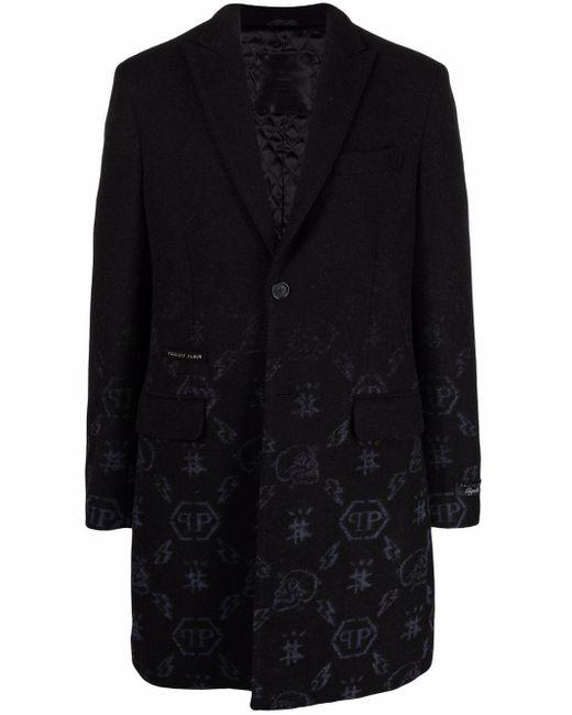 Жаккардовое Пальто С Монограммой Philipp Plein для него, цвет: Black