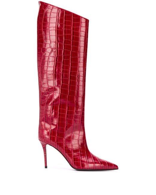 Le Silla クロコパターン ブーツ Red