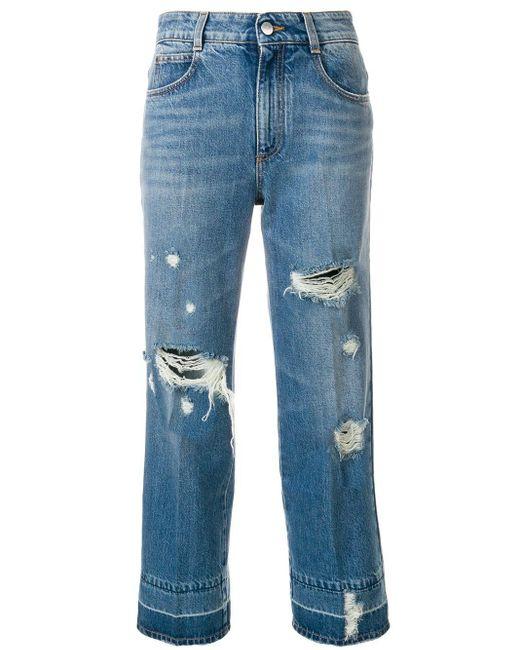 Stella McCartney Blue Distressed Cropped Jeans