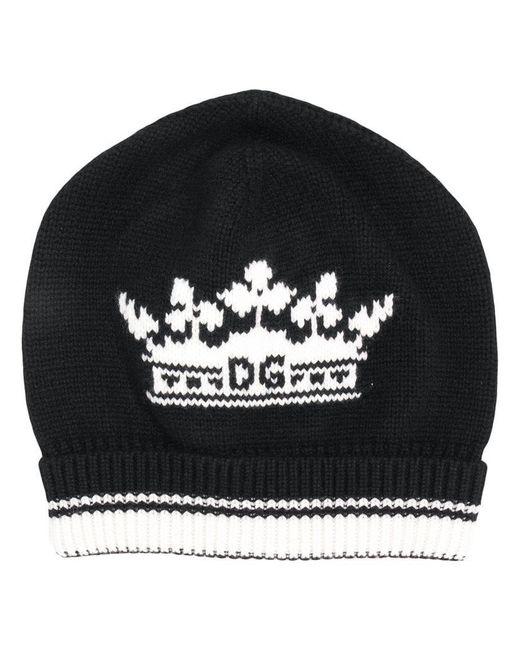 4978f3659fd Dolce   Gabbana Cashmere Crown Beanie in Black for Men - Lyst