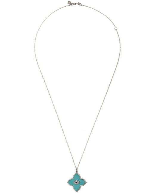 Sydney Evan ダイヤモンド&ブルーサファイア ネックレス 14kホワイトゴールド Metallic