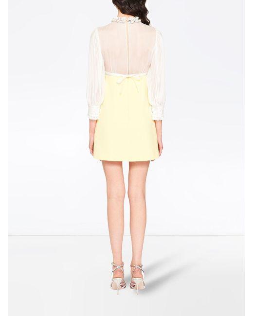 Miu Miu パネル レースドレス Yellow