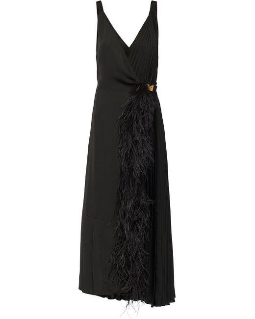 Prada フェザートリム ドレス Black