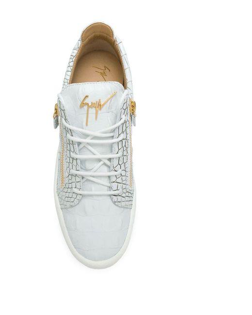 Giuseppe Zanotti White Gail Python-print Sneakers for men