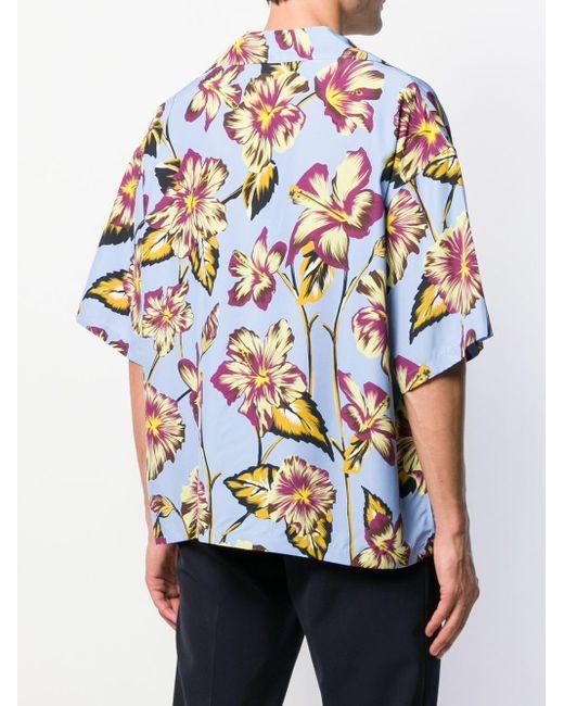 Prada Hemd mit Blumen-Print in Blue für Herren