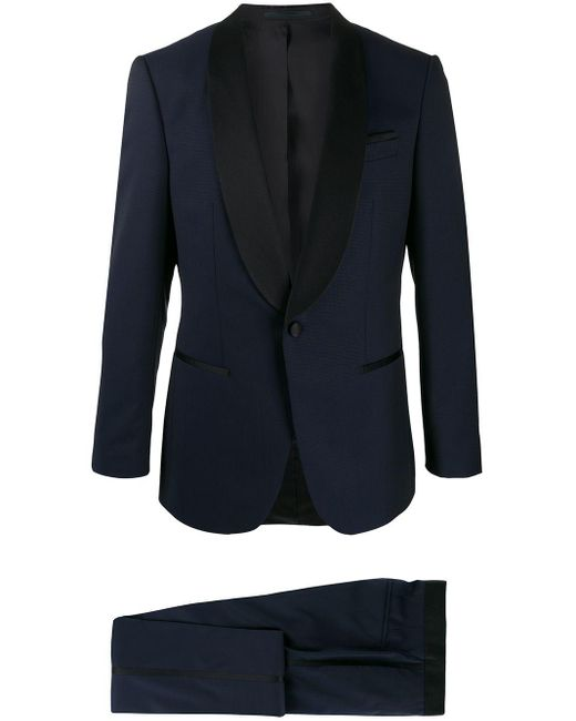 BOSS by Hugo Boss Blue Contrasting-lapel Two-piece Dinner Suit for men