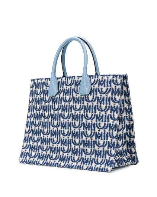 Bolso shopper en jacquard con logo Miu Miu de color Blue