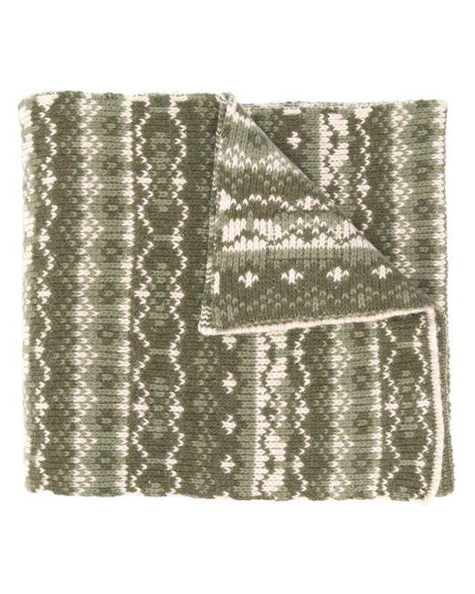 メンズ Paul & Shark インターシャ オーバーサイズ スカーフ Green