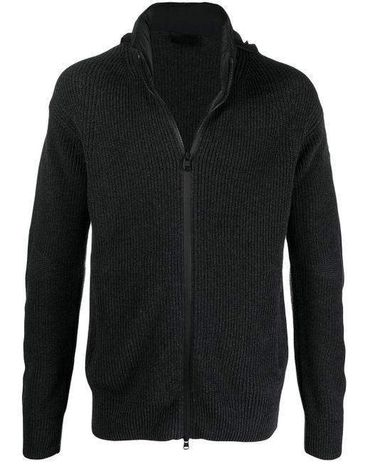 Moncler Gray Ribbed-knit Zip Jumper for men