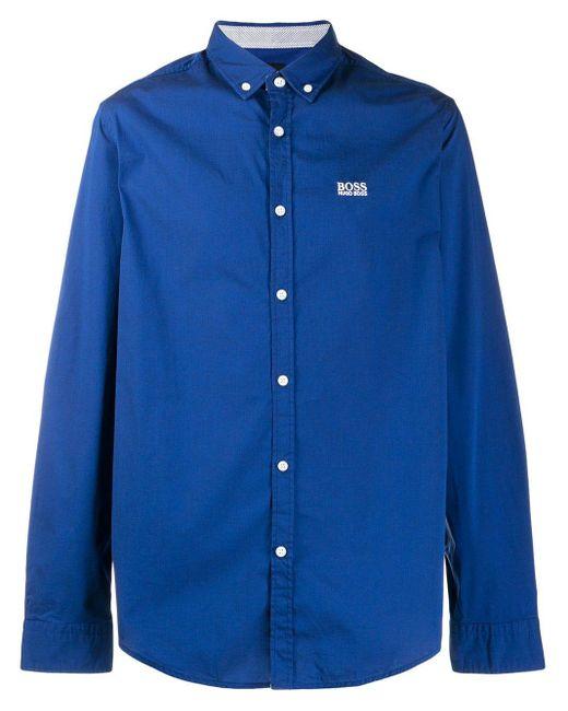 メンズ BOSS ロゴエンブロイダリー シャツ Blue