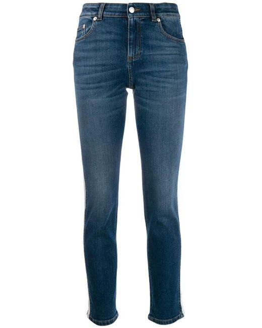 Jean skinny à bandes contrastantes Alexander McQueen en coloris Blue
