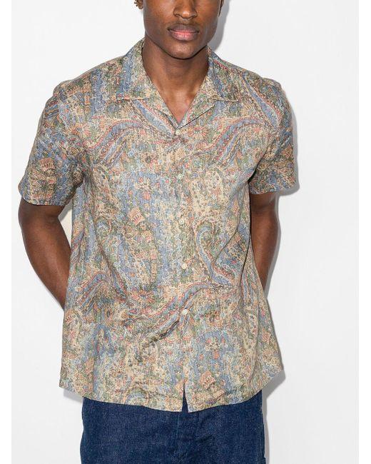 メンズ Beams Plus ペイズリー リネンシャツ Multicolor