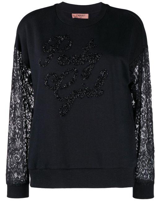 Twin Set デコラティブ スウェットシャツ Black
