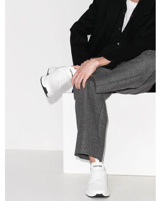 メンズ Tom Ford Jago レザースニーカー White