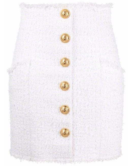Balmain ハイウエスト ツイードスカート White