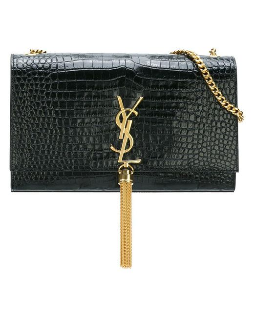Saint Laurent - Black Medium  monogram Kate  Shoulder Bag - Lyst ... d494337f24f03