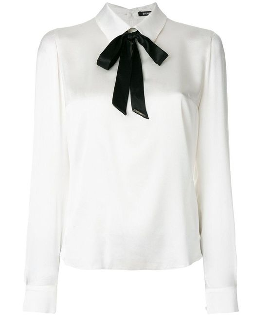Styland - White Pussy Bow Blouse - Lyst