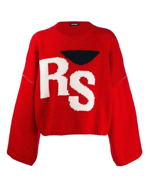 メンズ Raf Simons ロゴ セーター Red