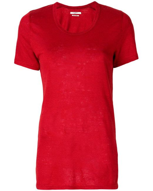 Lyst toile isabel marant u neck t shirt in red for Isabel marant t shirt sale