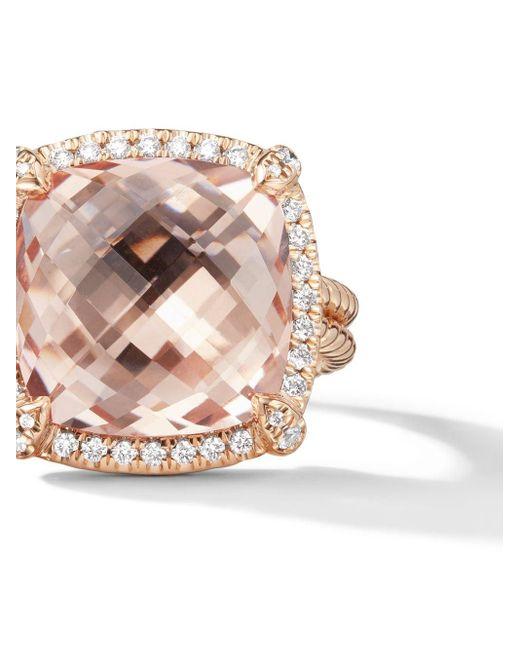 David Yurman Châtelaine モルガナイト&ダイヤモンド リング 18kローズゴールド Metallic