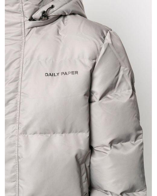 メンズ Daily Paper フーデッド ダウンジャケット Gray