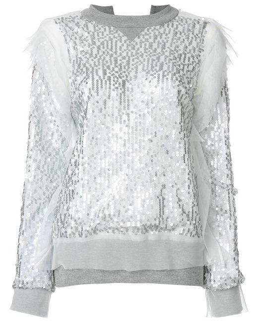 Sacai - Gray Sequin Embroidered Sweatshirt - Lyst