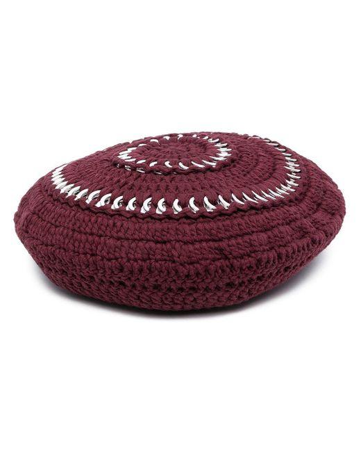 Ganni クロシェニット ベレー帽 Red