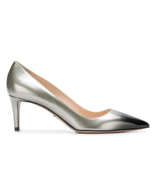 Prada - Gray Pointed Toe Pumps - Lyst
