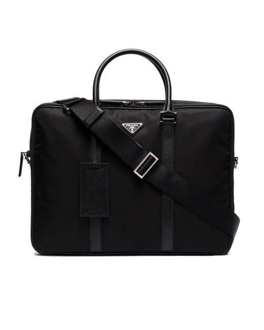 Prada   Black Double Zip Nylon Briefcase for Men   Lyst