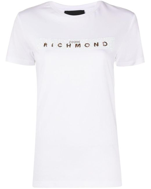 John Richmond スパンコールロゴ Tシャツ White