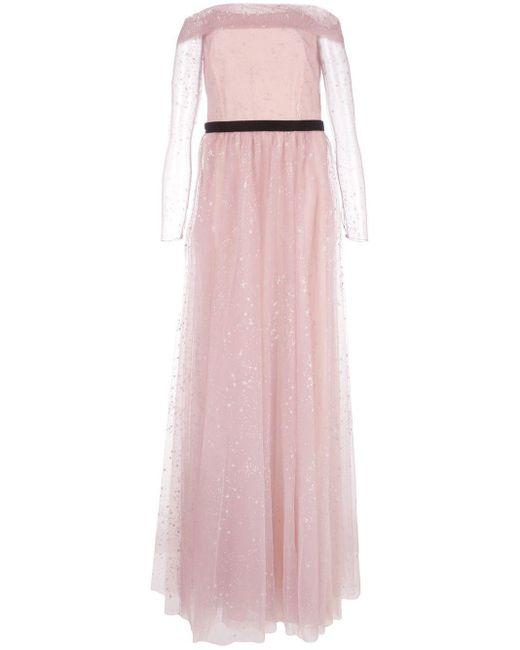 Marchesa notte オフショルダー ドレス Pink