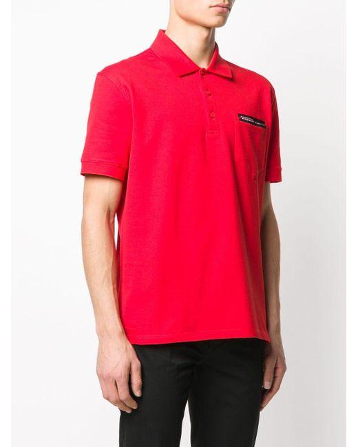 メンズ Givenchy ロゴ ポロシャツ Red