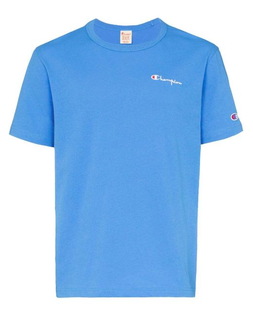 メンズ Champion ロゴ Tシャツ Blue