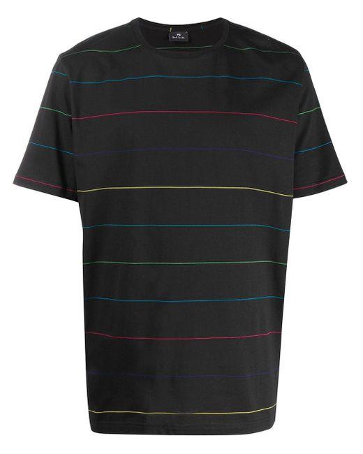 メンズ PS by Paul Smith ストライプ Tシャツ Black