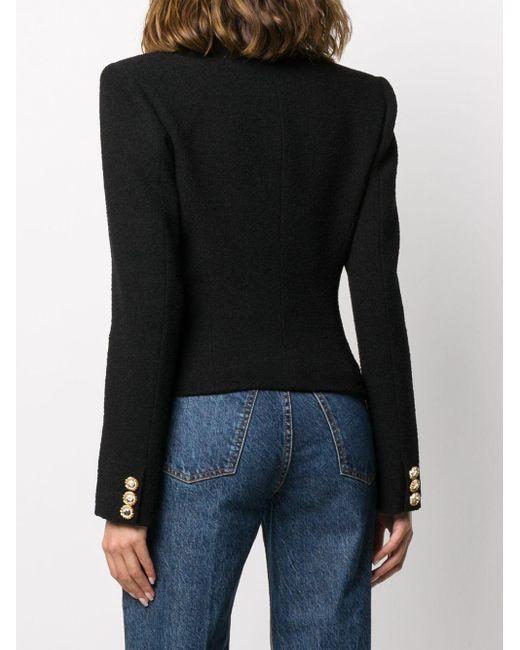 Alessandra Rich ビジュートリム シングルジャケット Black