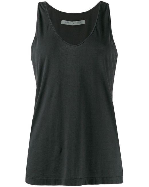 Raquel Allegra Camiseta de tirantes con cuello en U de mujer de color negro SUMYi