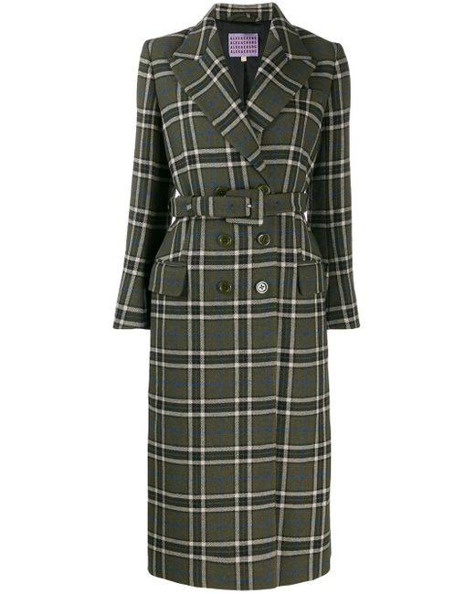 AlexaChung Green Tailored Check Midi Coat